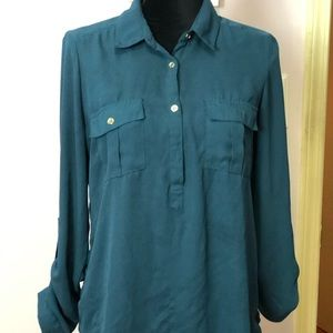Charolette Russe Teal, collared Blouse